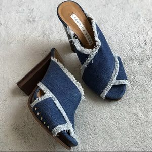 Veronica Beard Holt Frayed Denim Mule Sandal Heel